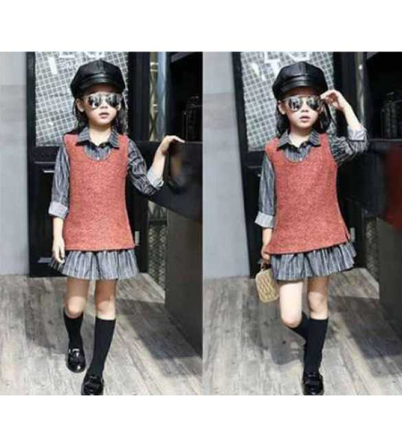 Set Dress Stripe Gray Red